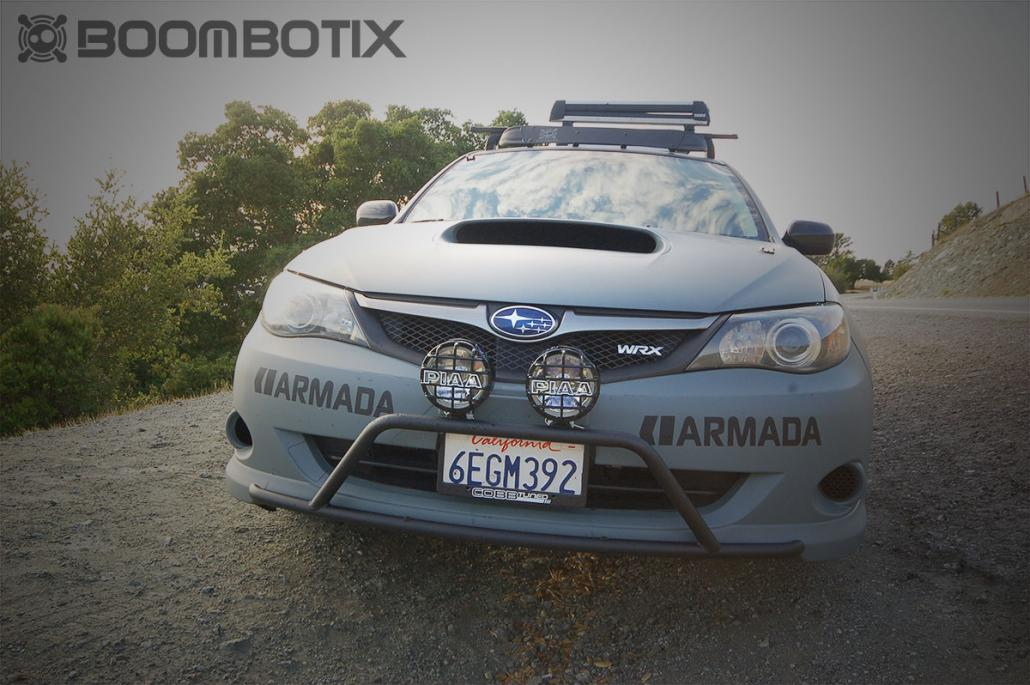 Subaru WRX Rally front end with lightbar and PIAA fogs